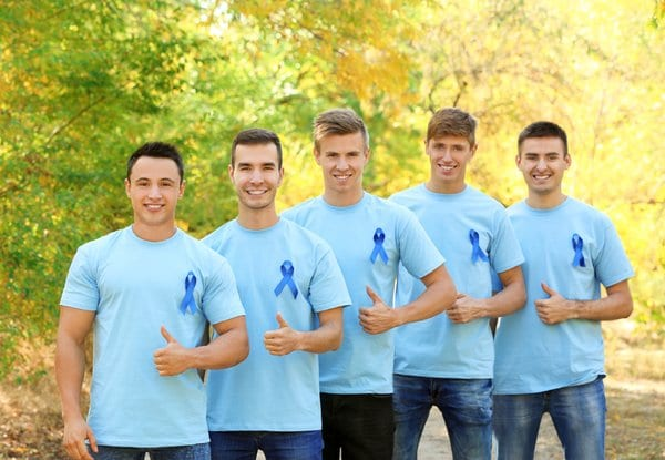 A group of men advocating colorectal cancer